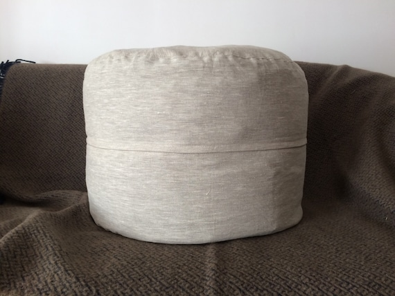 Surprising Rustic Foot Stool Linen Floor Pouf Ottoman Eco Friendly Furniture For Home Covers Only Pabps2019 Chair Design Images Pabps2019Com
