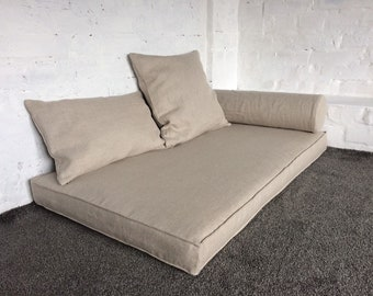 Linen Daybed Cover - Futon cover - Mattress zippered cover - Not dyed natural heavy weight linen - Scandinavian Hygge - Custom Covers