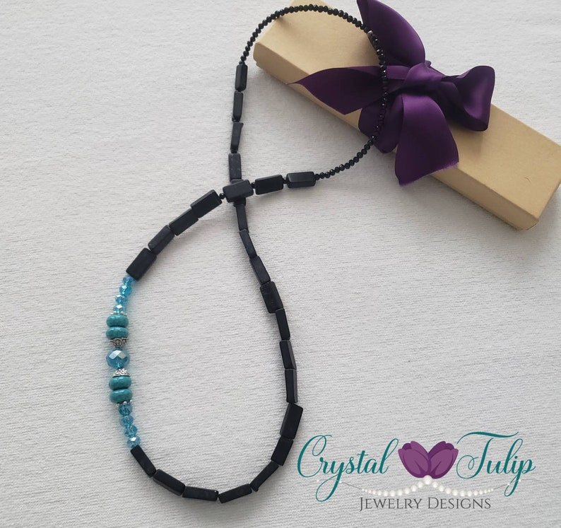 Crystal Beaded Necklace Stone and Crystal Necklace Bohemian Statement Necklace Jewelry for Women Stone Jewelry Black Long Boho Necklace