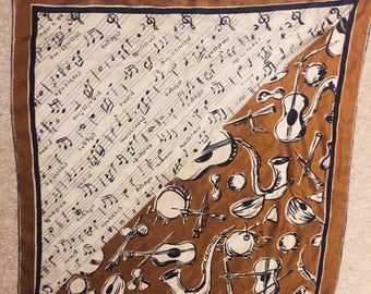 Vintage Ruth Le Claire Music Silk Scarf