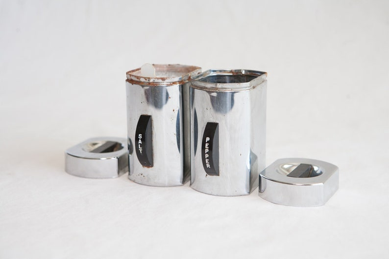 1960/'s Salt and Pepper Shakers Kromex Canisters Bakelite and Chrome Coffee Canister 1950s set Salt and Pepper Shakers