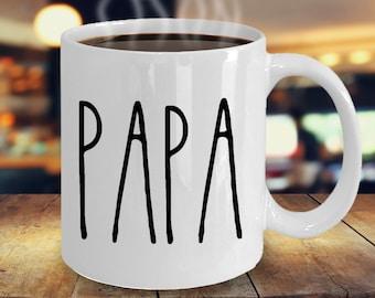 Gift For Papa Coffee Mug Grandpa Dad Minimalist Birthday One Word Mugs