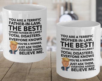 mother in law father in law trump mug set christmas gifts for inlaws maga from daughter in law from son in law funny donald trump mugs