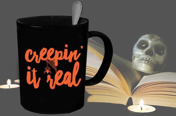 Glow In The Dark Creepin It Real Halloween Mug Spider Etsy