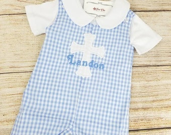 Baby Boy Baptism Romper, Cross Shortall, Personalized Outfit, Baby Boy Overalls