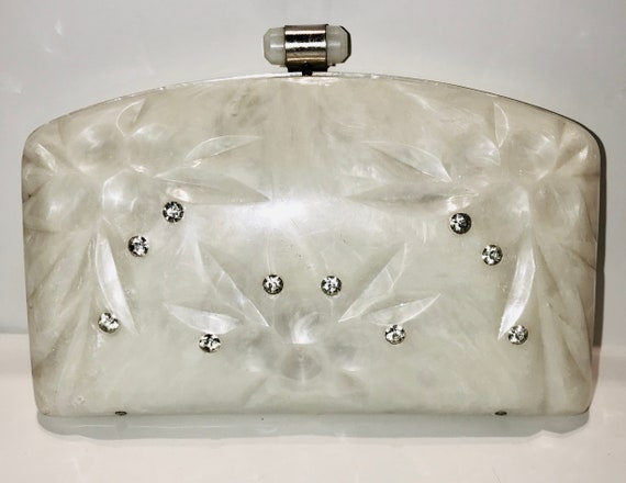 Vintage Lucite Plastic Clutch Purse with Rhineston