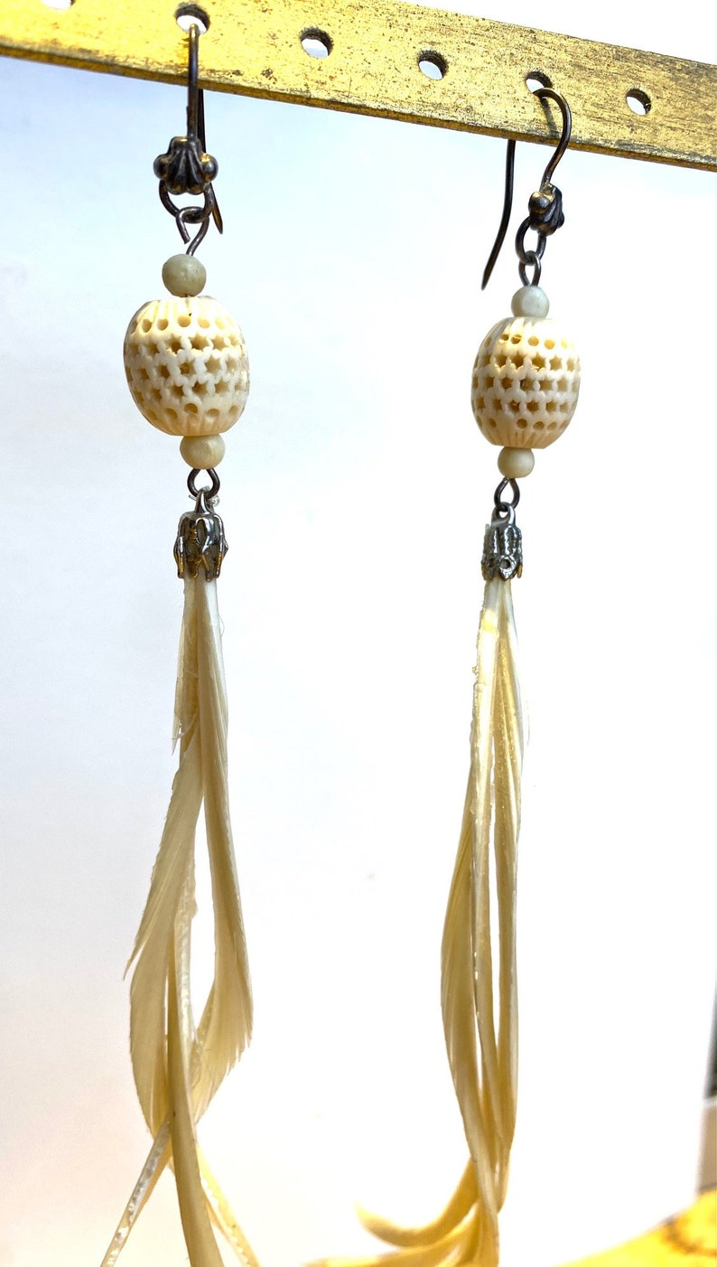 Vintage Upcycled Earrings Feather /& Carved Bone extra long wSterling Silver Wires