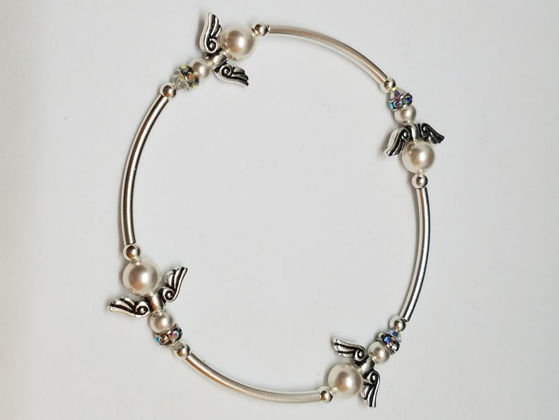 e72b18edee25c Angels Swarovski Crystal Pearl Sterling Silver Stretch Bracelet perfect  gift for Wedding, Christmas, Holiday, Birthday, Easter bracelet!