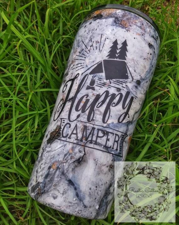 Happy Camper • marbre • gobelet • • personnalisé cadeau