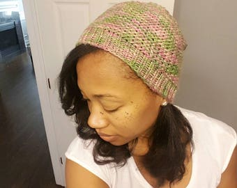 Pink and Green Knit Hat