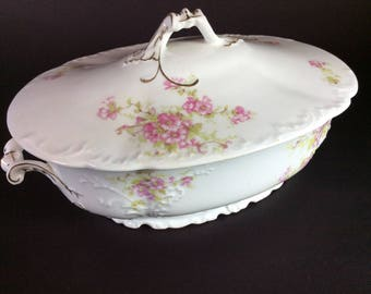 Pink flowered Covered China server