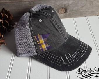 fdf1f1644 Minnesota Vikings   Distressed Trucker Hat   MN State Hat   Purple Pride    Plaid State Outline