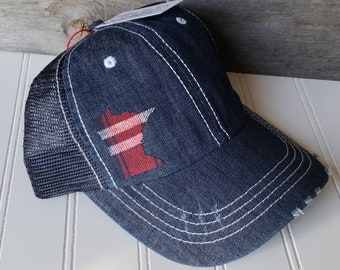 832518ca9801d MN Twins Distressed Trucker Hat