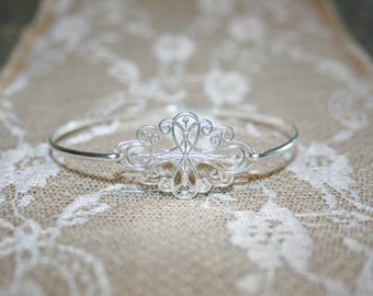 Sterling Silver Bangle, Filigree Bangle, Bridal Bangle, Wedding Jewelry, Delicate Bangle