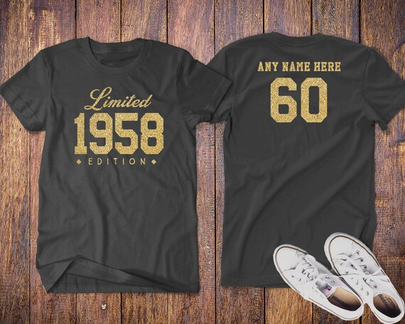1958 Gold Glitter Limited Edition 60th Birthday Party Shirt