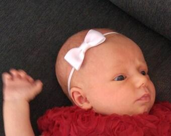 White Satin Baby Bow Headband- Skinny Bow- Thin Baby Bow Headband- Newborn  Hair Bow- Photo prop- Baby Hair Accessory- Baby shower gift 8f9645c864e