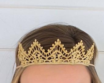 Gold Tiara Headband- Baby Crown Headband- Lace headband- Gold Crown-Photo prop- Gold lace headpiece- Elastic tiara- Baby tiara- Birthday