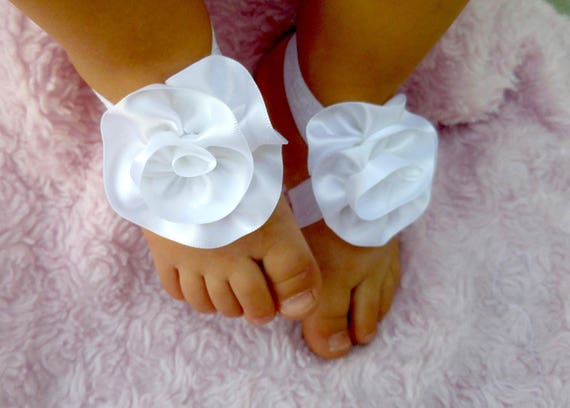 7ca4260888162 White Satin Rose Barefoot Sandals- Baby Barefoot Sandals- Baby Shoes- Baby  Accessory- photo prop- flower shoes- Baby shower gift