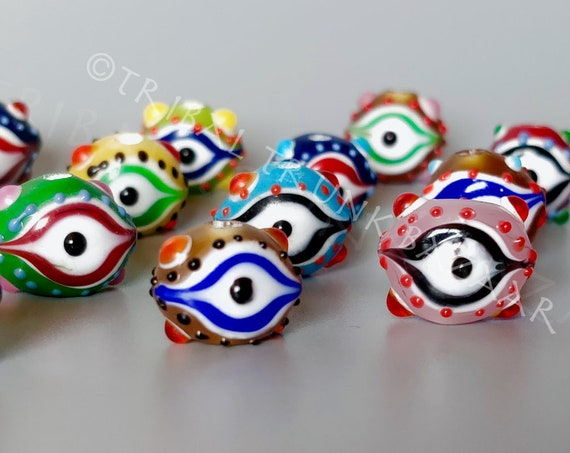 LAMPWORK EVIL EYE Bead Handblown & Hand-painted Vintage Glass Lamp-work bead Rare find! Choose your color 1.5 mm hole