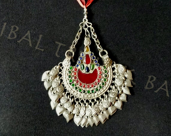 HUGE OLD WAZIRI pendant in fan shape with dangles and glass jewel settings or organza and cotton necklace, adjustable