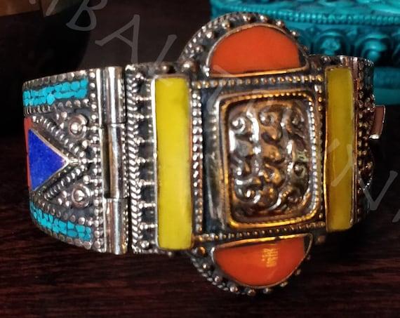 TIBETAN CUFF BRACELET Turquoise Yellow Amber Coral & Lapis Inlay Tibetan Silver Bracelet  Hand Crafted UnisexTibetan Jewelry
