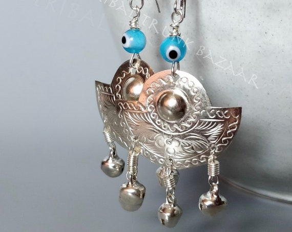 EVIL EYE EARRINGS etched high polish silver tin dangle earrings with lamp-work glass evil eye and bellsTribal Trunk Bazaar design exclusive
