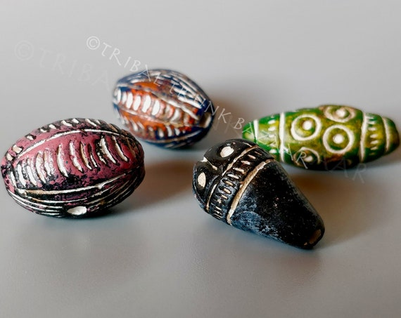 Beads MALI CLAY BEADS Large 4 mixed shapes and colors  West Africa Vintage Fair Trade