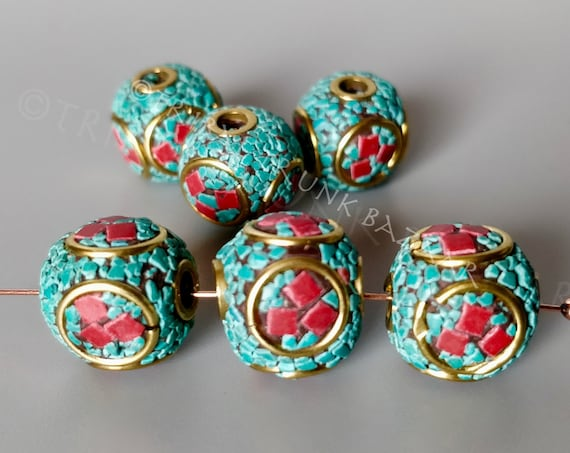 Beads CORAL TURQUOISE Tibetan Bead  coral and turquoise mosaic metal bead large hole for focal on DIY Jewelry and Décor