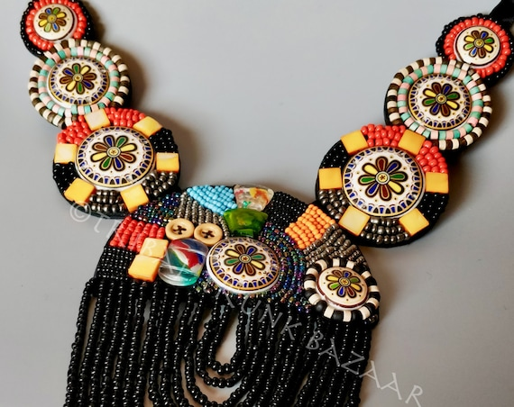 BEADED BIB NECKLACE Mixed media beads on medallions and 13 stands of cascading beads necklace