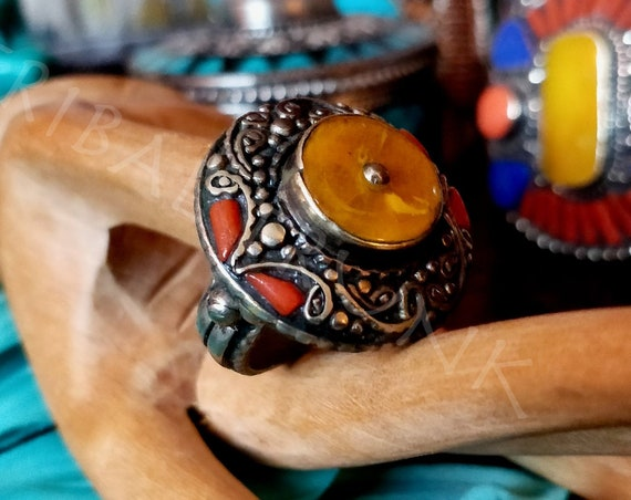 VINTAGE TIBETAN RING Yellow Amber & Red Coral Inlay Tibetan Silver Ring Hand CraftedTibetan Jewelry