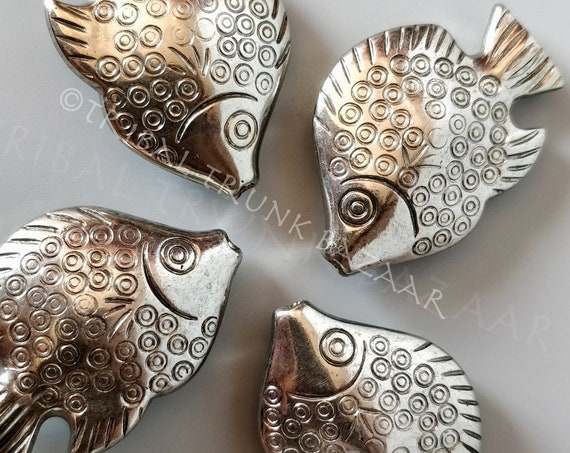 Beads FISH PENDANT BEAD Very large Bali style up-cycled brushed silver tone plastic pendant/bead