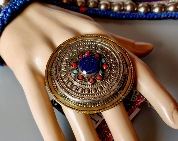 XL LAPIS RING Ethnic Boho  Laghman Tribal ring with Lapis focal, turquoise and coral cabochons and beautiful textured metal Tribal Trunk