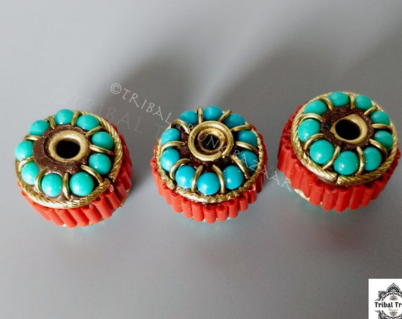 Beads TIBETAN Style Bead Large rondelles faux coral and turquoise metal bead large hole for focal on DIY Jewelry and Décor