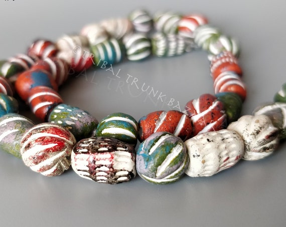 Beads MALI CLAY BEADS Strand of 36 mixed shapes and colors  West Africa Vintage Fair Trade