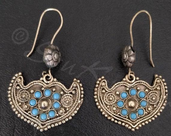 AFGHAN TURQUOISE EARRINGS Vintage Afghan earrings in antique gold tone turquoise . Authentic dangle earrings  boho afghan tribal ethnic