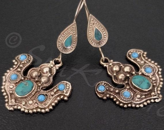 MALACHITE TURQUOISE EARRINGS Vintage Afghan earrings antique gold tone turquoise and malachite . Authentic dangle earrings love birds boho