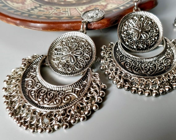 KUCHI CHANDELIER EARRINGS Antique silver etched chandelier earrings with half moon and medallion focal, dangles and studs