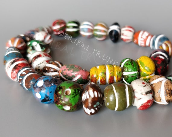 Beads MALI CLAY BEADS Strand of 37 mixed shapes and colors  West Africa Vintage Fair Trade