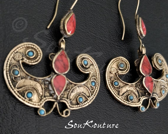 BUTTERFLY CORAL EARRINGS Vintage Afghan earrings in antique gold tone turquoise and red coral . Large dangle earrings butterflies boho