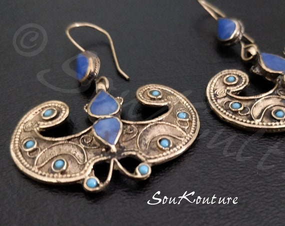 BUTTERFLY LAPIS EARRINGS Vintage Afghan earrings in antique gold tone turquoise and lapis composite. Large dangle earrings butterflies boho