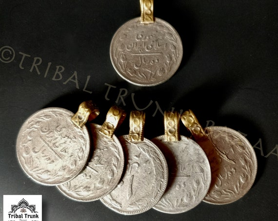 KUCHI COIN PENDANTS 6 Vintage Kuchi jumbo rupee coins with etched bail for your diy jewelry, cosplay, bags, bellydance, fusion, ethnic