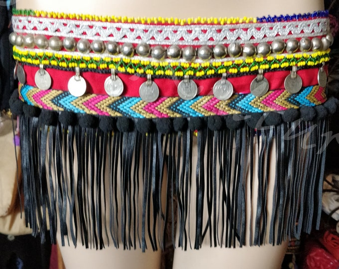 Featured listing image: SKIRT FRINGE BELT-Top Tribal Fusion Cosplay Turkmen Bellydance belt/top Tribal belt rupees faux leather fringe buttons & medallions