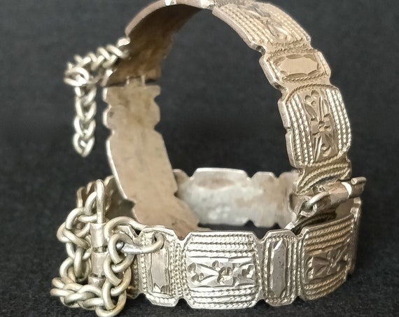 2 RARE BEDOUIN CUFFS vintage Pair of hinged silver bangles Circa 1960's Tribal Trunk