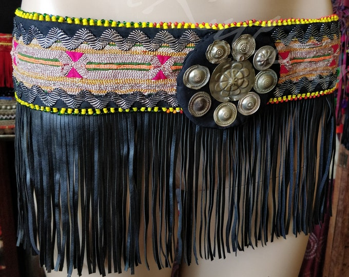 Featured listing image: SKIRT FRINGE BELT/Top tribal Cosplay Stage Dance Turkmen Woven Fabric Faux Leather Fringe Turkmen Buttons Medallion Beaded Frame Cosplay