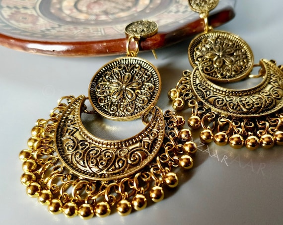 KUCHI CHANDELIER EARRINGS Antique gold etched chandelier earrings with half moon and medallion focal, dangles and studs