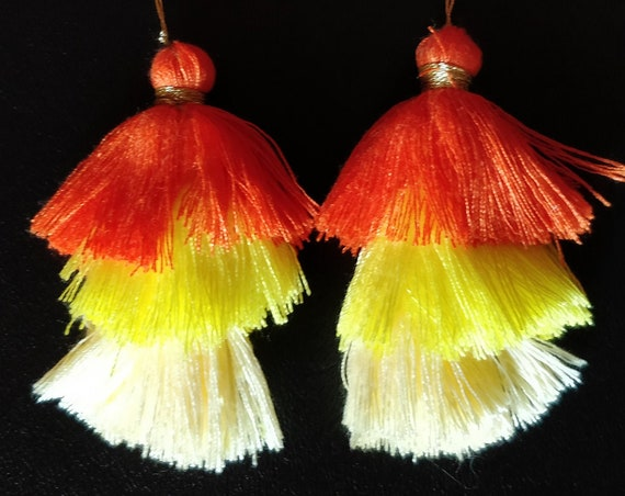 ORANGE YELLOW TASSELS set of 2 cotton tassels made of 3 shades of Orange: bright, canary and yellow ivory. Great for many diy boho projects