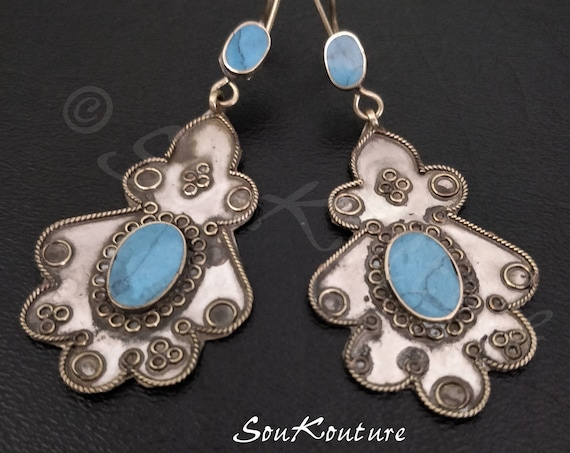 TURQUOISE HAMSA EARRINGS Vintage Afghan earrings in antique silver tone turquoise composite Large stylized hamsa earrings bold ethnic tribal