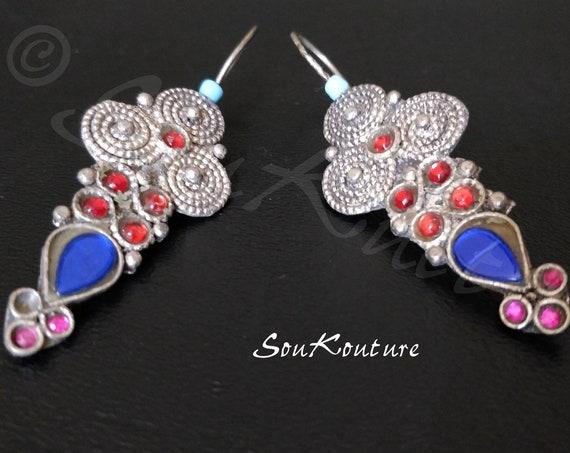 COLORFUL KUCHI EARRINGS Vintage Kuchi Earrings, 3 etched domes, blue teardrop jewels settings, red & pink oval settings