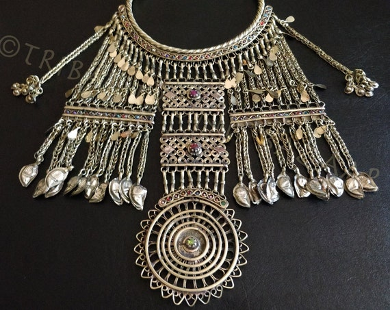 ETHNIC BIB NECKLACE Vintage Jalalabad wedding necklace substantial bib necklace on torc/torque from the eastern afghani region of Jalalabad