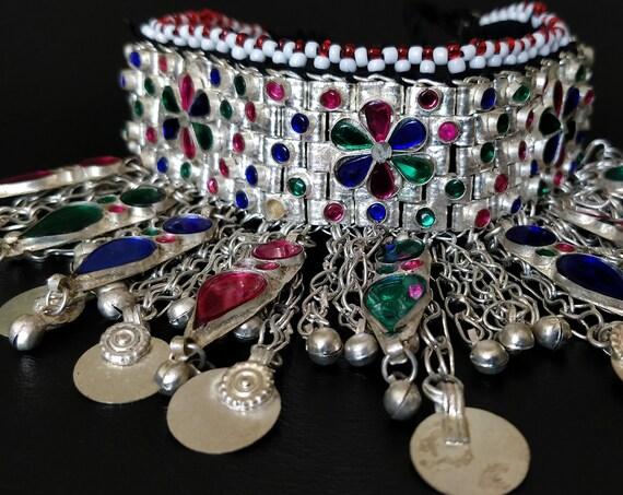 SILVER KUCHI CHOKER Vintage tribal Kuchi choker. Statement piece with jewel settings, dangles, coins -cosplay boho gypsy adjustable